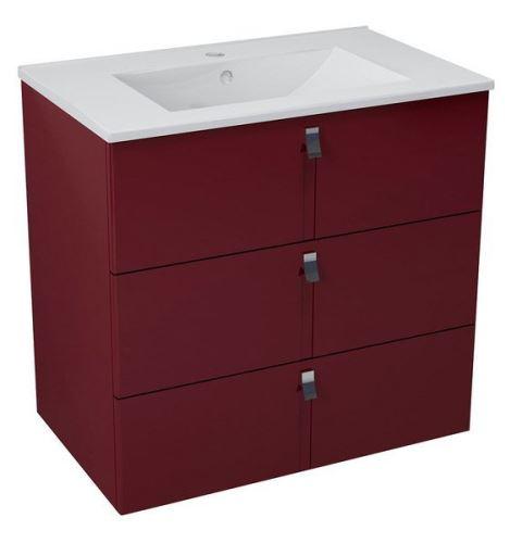 Sapho MITRA umyvadlová skříňka, 3 zásuvky, 89,5x70x45,2 cm, bordó