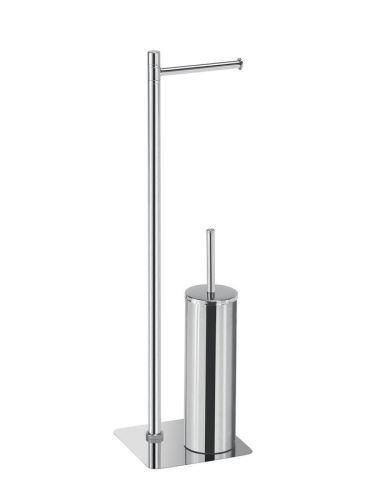 Gedy ARTU stojan s držákem na toaletní papír a WC štětkou, hranatý, chrom