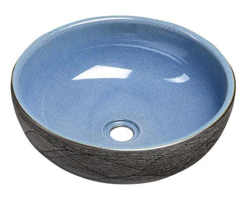 Sapho PRIORI keramické umyvadlo, průměr 41cm, 15cm, modrá/šedá