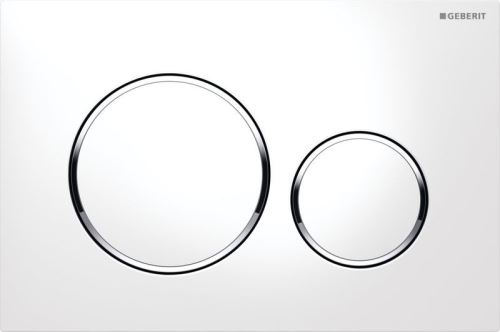 GEBERIT Ovládací tlačítko SIGMA20, pro 2 mn. splach., bílá, leskle pochromované (115.882.KJ.1)