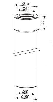 JUNKERS odtah AZ 363 - Prodloužení 350 mm  60/100mm (7736995059)